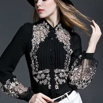 Embroidered Sheer Long Sleeve Collarless Blouse (Black/White)