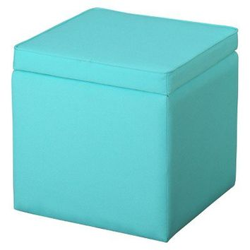 Square Storage Ottoman Sunbleached Turquoise