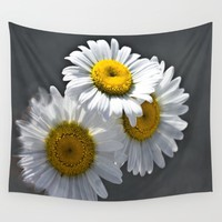 Three Daisies Wall Tapestry by Scott Hervieux | Society6