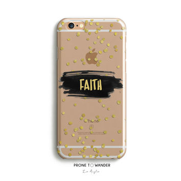 H82 FAITH Brush Art With Confetti - TPU Clear Transparent Phone Case for iPhone 5/5s iPhone 5c iPhone 6 iPhone 6plus Galaxy S4 Galaxy S5
