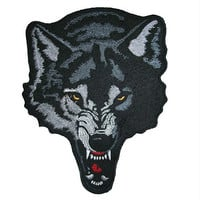JUMBO Backpatch (07) -  WOLF HEAD - Lone Wolf Biker, Punk, - Sew on Patch Custom Leather & Denim