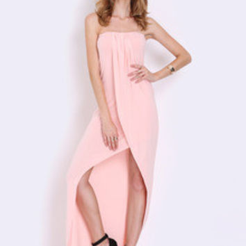 Pink Strapless Asymmetric Dress