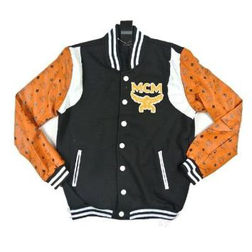 Indie Designs MCM Inspired Leather Sleeve Baseball Bomber Jacket