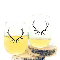 I liked this design on #Fab. Antlers Wine Glass 4 Pack