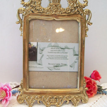 Ornate Art Nouveau Brass Picture Frame Vintage Home Decor