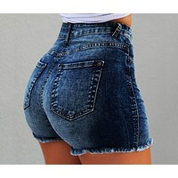 Women's fringed ripped high waisted denim shorts