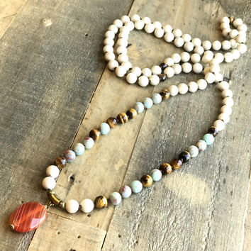 Riverstone, Tigers Eye and Carnelian Hand Knotted Mala Necklace