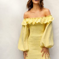 Bishop Sleeve Ruffle Hem Shirred Bardot Dress