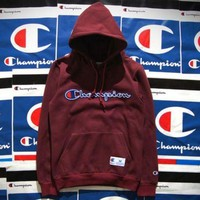 Champion Fashion Women Men Personality Embroidered Logo Hoodie Cotton Sweater Pullover Top Wine Red