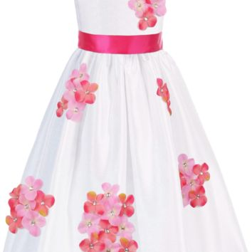 Coral Pink Dimensional Gem Beaded Flowers on White Shantung Occasion Dress (Girls Sizes 2T - 14)