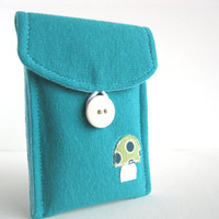Eco Friendly. Iphone 5 Cozy. Upcycled. Teal. Tshirt. Holiday Gift. For Her. Stocking Stuffer. Teen. Tween. Free U.S Shipping.