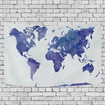 Blue Watercolor World Map Tapestry Wall Hanging Abstract Wall Art Home Decor