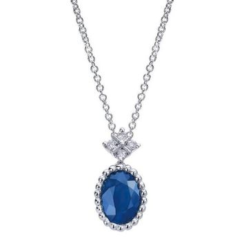 14k white gold sapphire and diamond vintage style necklace