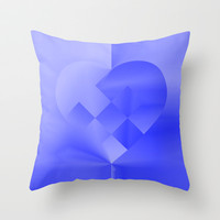 Danish Heart Blues Throw Pillow by Gréta Thórsdóttir #love #heart #girly #livingroom  #kids #blue #ombre #pattern #bedtoom