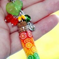 Rainbow Grapefruit Orange Lemon Lime Citrus Fruit Glass Bottle Pendant Necklace
