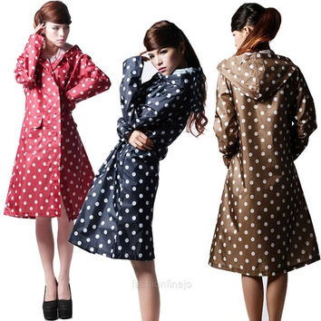 Women Polka Dots Outdoor Travel Waterproof Riding Clothes Raincoat Ladies Poncho Hooded Knee Length Rainwear F_F