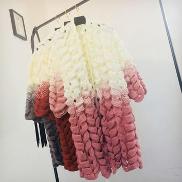 Women Long Cardigans Fall Winter Jumper Knitwear Long Sleeve Pink Color Hollow Out Sweater Clothing 2018 Autumn Knitwear Cape