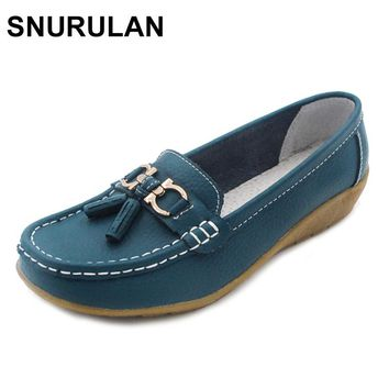 SNURULAN dobeyping 2018 Spring Autumn Shoes Woman Cow Leather Flats Women Slip On Women's Loafers Female Moccasins Shoe