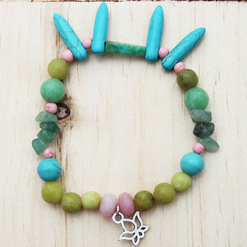 Jade & Turquoise Gemstone Beaded Lotus Charm Bracelet