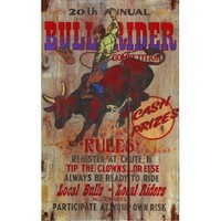 Red Horse Bull Rider Sign