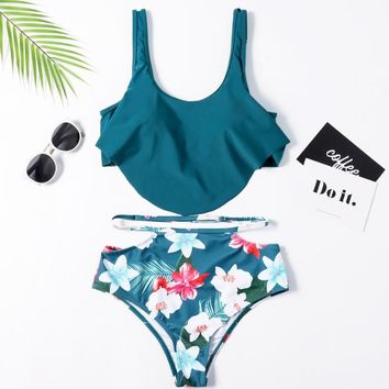 Summer New Fashion Leaf Print Straps Two Piece Bikini Swimsuit Women White
