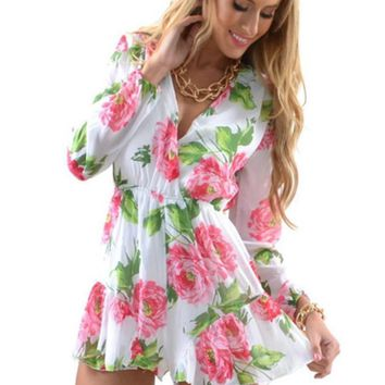 PRINTING FLOWERS JUMPSUITS V-NECK SEXY CULTIVATE ONE'S MORALITY