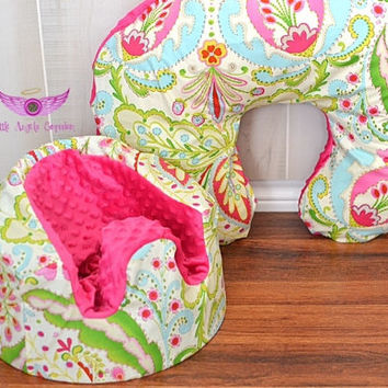 Kumari Garden Teja Pink/Multi Bumbo Seat Cover and Boppy Pillow Cover Set