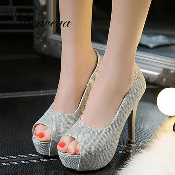 Sexy thin heel Women wedding shoes Big size 32-45 Spring/Autumn Peep Toe Slip-On Ultra high with 12 cm high heels zapatos mujer
