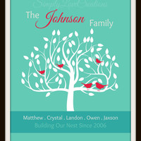 """Custom Typography, Family Tree Art Print """"Building Our Nest"""" // Gift For Mom // Grandparent gift // Mothers Day // Grandparents Day // 8X10"""