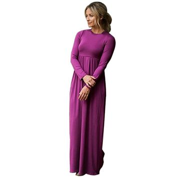 Purple Long Sleeve High Waist Maxi Jersey Dress