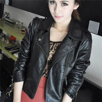 Turn Down Collar Women Leather Jackets Slim PU Leather Motor Jacket for Women Plus Size 2XL SM6