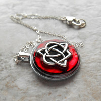 celtic sister knot necklace: wine - heart jewelry - triquetra necklace - celtic jewelry - unique gift - celtic knot - valentines day