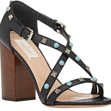 Valentino Rolling Rockstud City Leather (eu39/us 9) Black, Blue Sandals 24% off retail