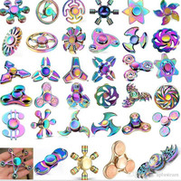 Multi Mix Styles Hand Tri-Spinner Fidget Finger Toys Aluminum Zinc Alloy Two Leaves Metal Colorful Spinner Fingertip Toy EDC Decompression