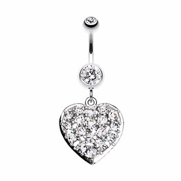 Shimmering Heart Belly Button Ring