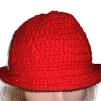 SALE Crochet Hat in Red Shimmer. Brim, Trilby style, Bowler, Fedora, Accessories,