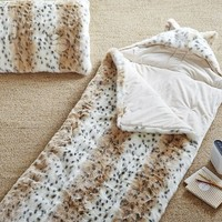 Faux Fur Sleeping Bag W/ Hood, Snow Leopard