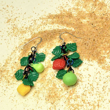 West German Vintage Fruit and Leaf Earrings