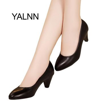YALNN Elegant Women Pump Birthday Gift High Quality Shoes Classic Med Office Ladies Shoes High Heels Shoes