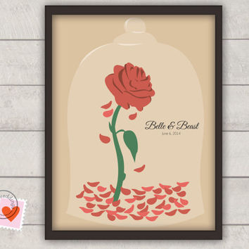 Disney wedding guestbook alternative - Beauty and the Beast Rose Petals