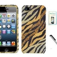 [NC] Iphone 5 Bling Leopard Cheetah (Orange Classic Tiger) Hard Case Cover with NanoCell4All Screen Protector Pack And Premium Capacitive Stylus Pen with NanoCell4All Retail Package