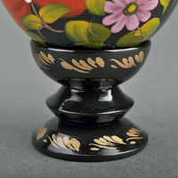 """Decorative wooden egg with a holder """"Blooming Peonies"""""""