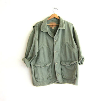 20% OFF SALE Vintage Barn Coat. army Green Chore Jacket. Ranch Coat.
