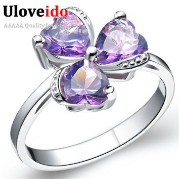 grande ring elegant sparkling sterling silver finger jewelry four radiant snowflake women rings anel leaf clover authentic green dodosoo for products