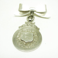 Solid Silver Dux Medal, Watch Fob, Sterling, Hallmarked 1927, Vintage, St Ninians School, REF:246H