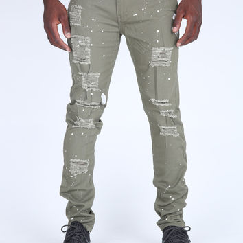 The Hewitt Destroyed Pant in Light Olive