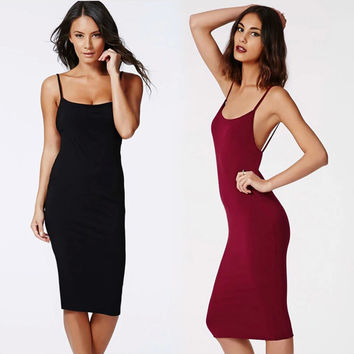 2016 black red backless dress high quality Sexy Club Dress One-piece Sleeveless dress for woman Bandage Bodycon Party Dresses