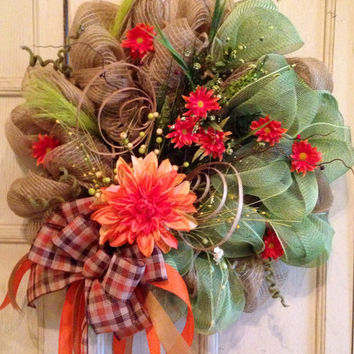 Fall DecoMesh Burlap Floral Wreath, Burlap Wreath, Fall Wreath, Door Wreath, Wedding Gift, Thanksgiving Wreath, Thanksgiving
