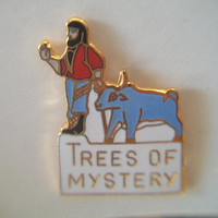 Trees of Mystery Souvenir Pin Lapel Tie Tack Paul Bunyan Babe the Ox Jewelry Accessories