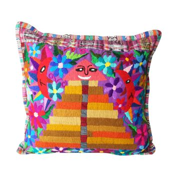 Hand Embroidered Happy Pyramid Throw Pillow